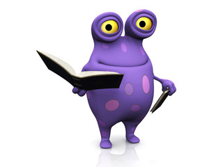 A spotted monster holding books.