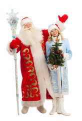 Santa Claus and Snow Maiden on a white background