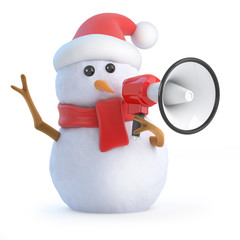 Santa snowman yells through a megaphone