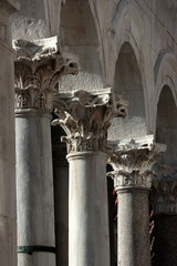 Corinthian columns in Diocletian's palace, Split in Croatia