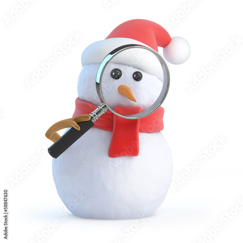 Santa snowman peers through a magnifier
