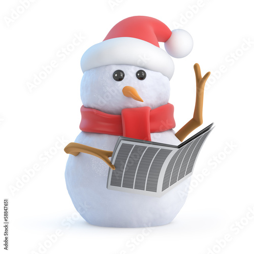 Santa snowman reads the newspaper