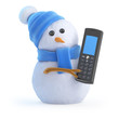 Blue snowman with mobile phone