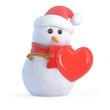 Santa snowman with romantic heart