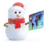 Santa snowman pays with plastic