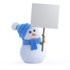 Blue snowman with blank placard