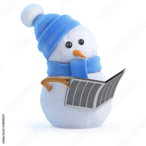 Blue snowman reads a newspaper