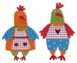 rooster and hen cut out of felt and wool