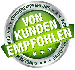 """Button Banner """"Von Kunden empfohlen"""" grün"""