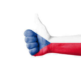 Hand with thumb up, Czech  flag painted