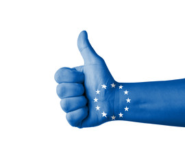 Hand with thumb up, EU (European Union) flag painted