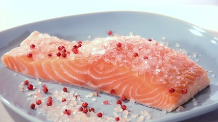 salmon fillet with himalayan salt and pepper