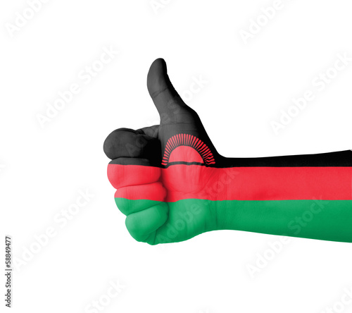 Hand with thumb up, Malawi  flag painted