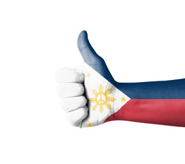 Hand with thumb up, Philippines  flag painted