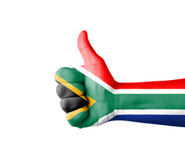Hand with thumb up, South Africa  flag painted
