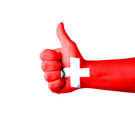 Hand with thumb up, Switzerland  flag painted