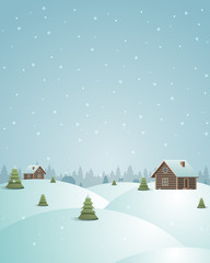 Merry Christmas postcard village vector background