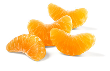 tangerine segments isolated