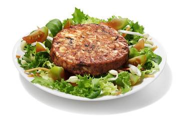 seaweed burger with salad