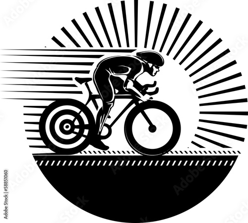 Cycling race. Vector illustration in the engraving style