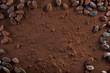 Leinwandbild Motiv Kakaopulver und Kakaobohnen Hintergrund Textfreiraum