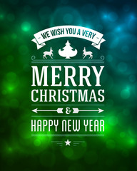 Merry Christmas message and light vector background