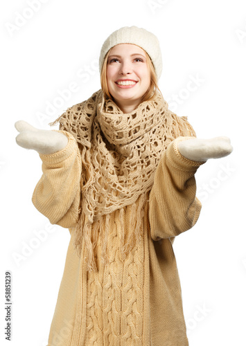 Smiling woman in warm winter clothing