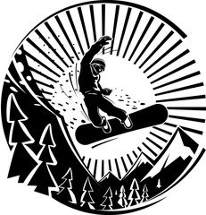 Snowboard jumping in mountains. Vector illustration