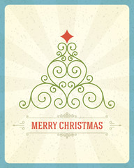 Christmas tree calligraphic vector background