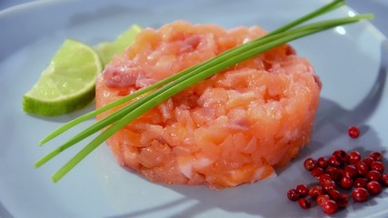 salmon tartare close up