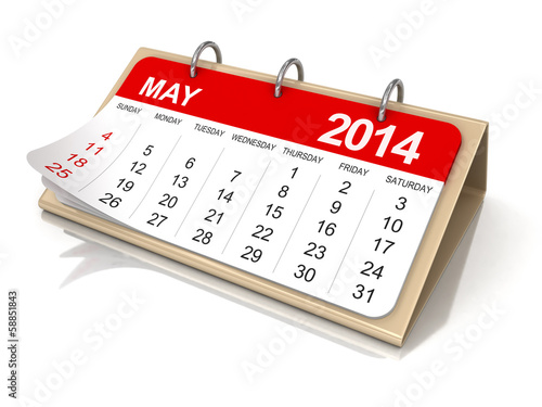 Calendar -  may 2014  (clipping path included)