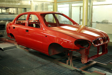 A newly painted carbody