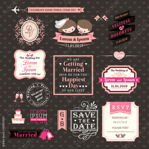 Wedding Elements labels and frames Vintage Style