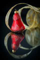Christmas bell with gold ribbon