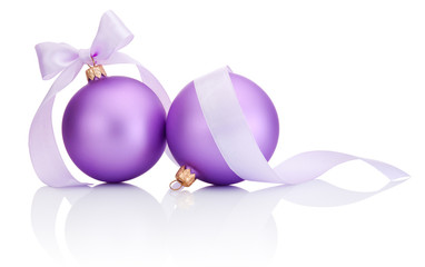 Two purple christmas balls with ribbon bow Isolated on white bac