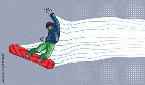 Stylized snowboarder. Template for poster design