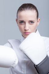 Boxing businesswoman
