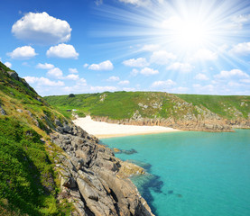 Porthcurno Beach Cornwall England UK