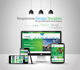 Modern devices mockups with web template poster