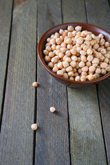 raw chickpeas in a bowl on the table