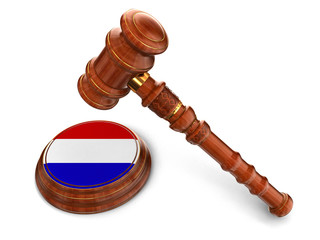 Wooden Mallet and Netherlands flag (clipping path included)