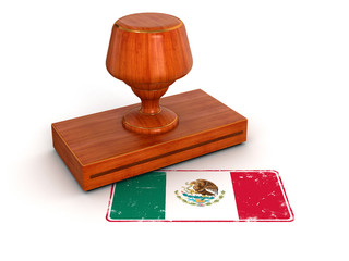 Rubber Stamp Mexican flag (clipping path included)