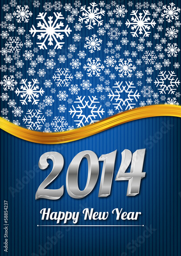 Blue happy new year card