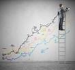 Businessman draws statistics