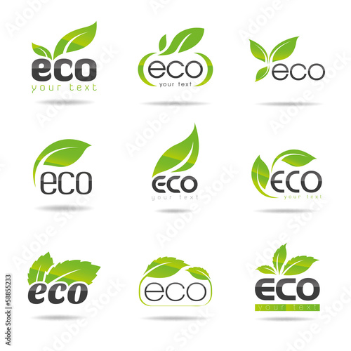Ecology, organic icon set. Eco-icons - 58855233