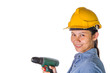 Asian female construction worker with safety hat and drill
