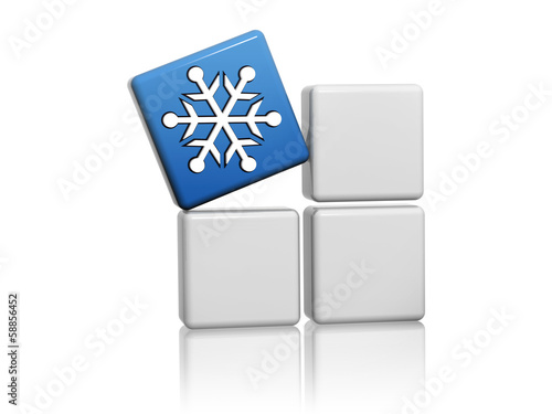 blue cube with snowflake symbol on boxes