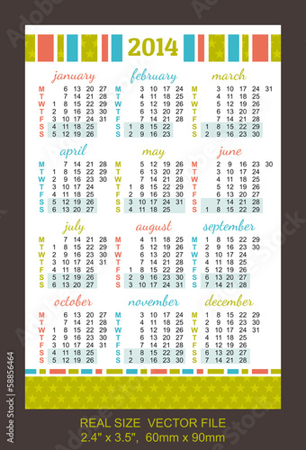 "color pocket calendar 2014 VECTOR SIZE: 2.4"" x 3.5"",  60mm x 90m"