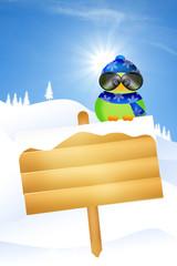bird on snow sign