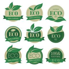 Eco labels with retro vintage vector design.